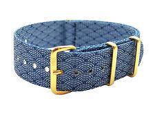 HNS ZULU Double Graphic Indigo Sashiko Waves Pattern Nylon Strap Gold Buckle