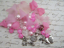 IT'S A BABY GIRL CHARMS, FLOWERS AND GLASS BEAD MIX X 50 PIECES. PINK BEAD MIX.