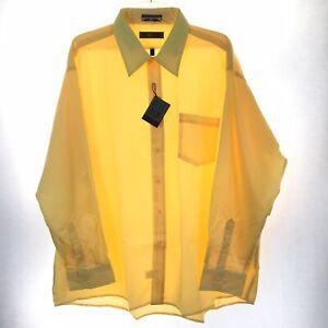Oleg Cassini Mens Big 18.5-34/35 Yellow Long Sleeve Button Front Shirt NWOT