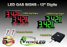 """12"""" LED GAS STATION Electronic Fuel PRICE SIGN DIGITAL CHANGER Complete Package"""