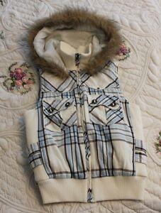 Charlotte Russe Women's SMALL Blue Brown White Plaid Vest Faux Fur Hood