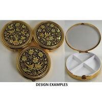 Damascene Gold Dove & Flower Design Round Pill Box by Midas of Toledo Spain 8531