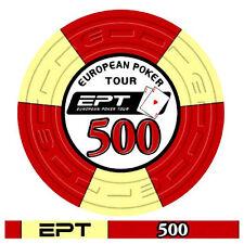 Blister da 25 fiches poker EPT Replica 2007 Ceramica Valore 500 Bordo Allineato