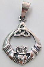 925 STERLING SILVER PLAIN IRISH CLADDAGH CELTIC KNOT ROUND PENDANT WOMEN TEEN