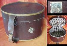 ORIGINAL 1900s BIG BROWN LEATHER LADY HAT BOX