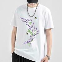 Frauen übergroße lila Lavendel T-Shirt Kurzarm T-Shirt XS-XXXL Tops M4M9