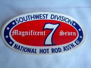 Vtg Auto Drag Racing Sticker~MAGNIFICENT 7 Seven~Southwest Division~NHRA~1970s