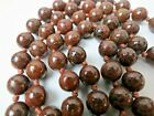 Antique Chinese Cloisonne Hand Knotted Dark Brown Red 10mm Bead Necklace 30