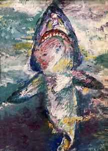 """Shark 5""""x7"""" Limited Edition Oil Painting Print Home Decor Art Signed by Artist"""