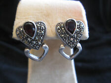 Vintage Sterling Silver Heart Shaped Pierced Earrings Garnets and Marcasites