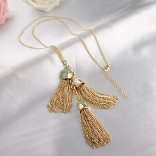 Haute Couture Gold Plated Gemstone Tassel Necklace Green Jade & Rose Quartz