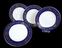 "NORITAKE #7902 NOBLESSE COBALT GILT FLOWERS LEAVES TRIM 4 PC 6 3/8"" BREAD PLATES"