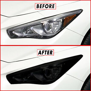 FOR 14-20  Infiniti Q50 Q50S Headlight SMOKE Precut Vinyl Tint Overlays