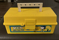 1958 ZEBCO SNOOPY CATCH 'EM TACKLE BOX Container Peanuts Yellow Fishing