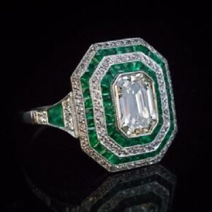 Art Deco Style 925 Sterling Silver White Emerald Green Princess Halo Ring Women
