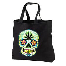 Sugar Skull Pot Leaf New Cotton Tote Bag, Day of the Dead