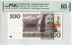 Netherlands 100 Gulden 1970 Michiel de Ruyter Pick 93 PMG Gem UNC 65 EPQ