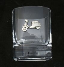 Lambretta Scooter Pair of Crystal Tumblers Pewter Motif Presentation Gift  212