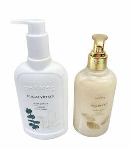Thymes Eucalyptus Body Lotion 9.25 fl oz Thymes Gold Leaf Hand Wash 8.25 NEW