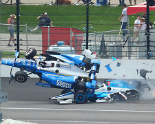 JAY HOWARD AND SCOTT DIXON 2017 INDIANAPOLIS INDY 500 CRASH 8x10 PHOTO