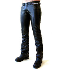 New Genuine Leather Pants Zip Waist Side Quilted Bottoms Close Fit Three way Zip