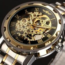 AU Classic Men's Watch Transparent Steampunk Skeleton Mechanical Stainless Steel