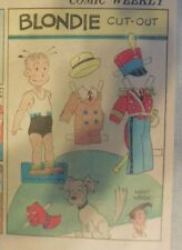 Blondie Sunday by Chic Young from 11/13/1938 Rare Paper Doll Full Page Size !