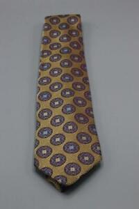 """Recent ERMENEGILDO ZEGNA Silk Tie. Brown w Blue Floral Medallion 60"""" x 3.5"""""""
