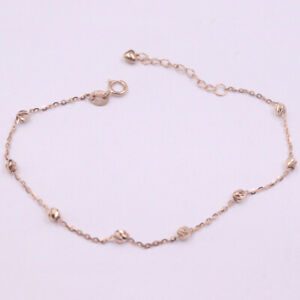 "Real 18K Rose Gold Bracelet Women Luck O Chain with Carved Beads 7.68"" 1.3-1.5g"