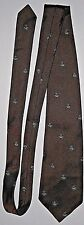 VINTAGE MOB ANCHOR SWING EMBROIDERED SILK NECK TIE BRONZE BROWN ROCKABILLY EUC