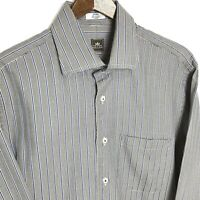 Peter Millar Button Down Shirt Mens  M Houndstooth Striped Blue Brown Long Sleev