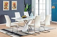 BRAND NEW White High Gloss Chrome Dining Table Set Grey  6 Leather Chairs Seat