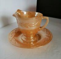 Vintage FIRE-KING Orange Peach Luster Laurel Leaf CREAMER Oven Ware and saucer