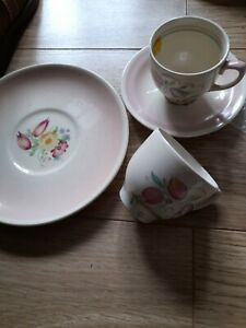 Vintage SUSIE COOPER Floral Coffee tea cup saucer no chips pink mix