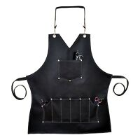 Professional Black Leather Hairdressing Barber Apron Cape Barber Hairstylist