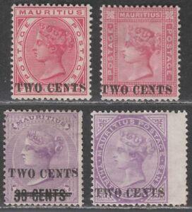 Mauritius 1891 Queen Victoria 2c Surcharge Selection Mint SG118-121 cat £180