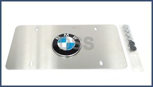 Genuine BMW Roundel Satin Stainless Steel Marque License Plate