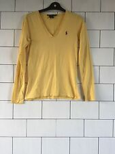 WOMEN'S RALPH LAUREN URBAN VINTAGE RETRO LONG SLEEVED YELLOW T SHIRT TOP 8/10