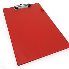 10 x Rapesco A4 Standard PVC Clipboard with Hanging Hole and Metal Clip - Red