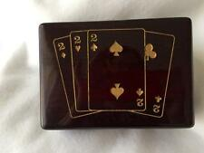 Playing Card Box Mr Deuces 2 Of Spades Game Trinket Jewelry McDavitt Gold Tone