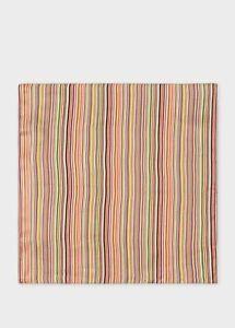 Paul Smith Pocket Square - BNWT Signature Multi Stripe 100% Silk RRP: £50