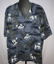 Palmwave Hawaii Hawaiian Button Up Shirt Mens Size 3XL Blue Palm Trees