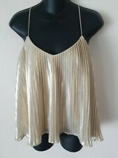 Abercrombie and Fitch Gold Pleated Tank Top Knit Women's Size Small Shiny