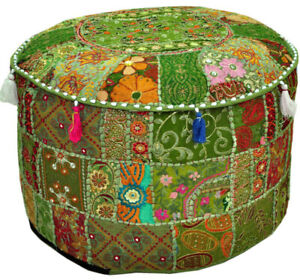 Patchwork Round Foot Stool New Indian Cotton Vintage Ottoman Pouf Cover Handmade