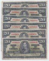 1937 $20 Canada Bank Note Prefix H/E Coyne Towers - F/VF
