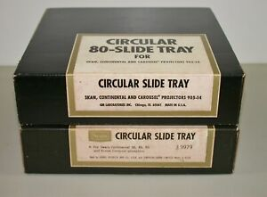 2 Vintage Sears 9979 Circular 80-Slide Trays for Continental/Carousel Projectors
