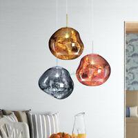 Modern Irregular Melt Ball Mirror Pendant Light PU Hanging Chandelier Fixture