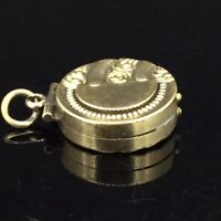 Antique Locket Pendant Charm Fob Victorian Gold cased Textured Spectacular 1890s