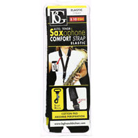 BG S10ESH Large Alto/Tenor Comfort Elastic Saxophone Strap with Snap Hook