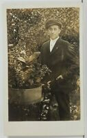 Rppc Handsome Man Posing in the Garden Real Photo c1910 Postcard P01